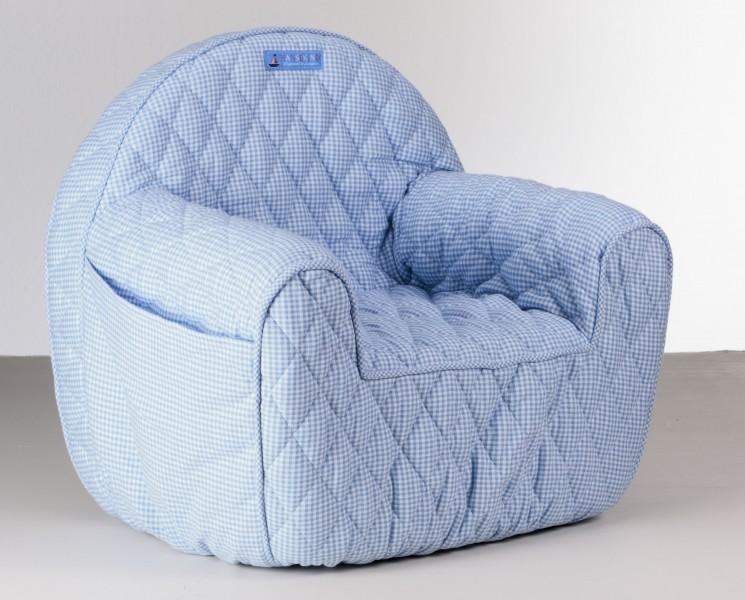 hansekind sessel blau wei kariert fuer kleinkinder von 1. Black Bedroom Furniture Sets. Home Design Ideas